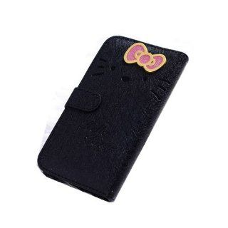 JBG Black Samsung S4 i9500 Beuatiful Shell Skin Case 3D Cute Hello Kitty & Bow knot Style Flip Wallet Leather Cover for Samsung Galaxy S4 IV i9500 Cell Phones & Accessories
