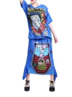 ELLAZHU Women Oversized Punk Zombie Crew Neck T shirt Skirt Set Onesize GY122