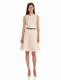 Anne Klein Women's Folded Neck Swing Dress, Buff, 4