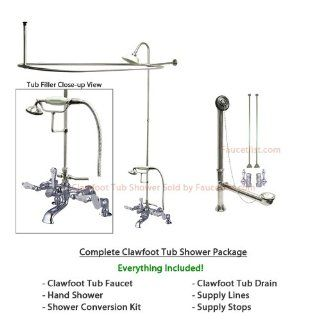 Chrome Clawfoot Tub Faucet Shower Kit with Enclosure Curtain Rod 654T1CTS   Clawfoot Bathtubs