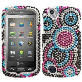 Pink Blue Bubble Full Diamond Bling Snap on Design Case Faceplate for Pantech Laser P9050/ At&t + Screen Protector Film Cell Phones & Accessories