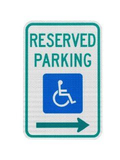 Elderlee, Inc. 9112.78003 Handicapped Parking Sign, Reserved Parking with Right Arrow  12 x 18 Inch 3M High Intensity Reflective Sheeting, 3 Pack