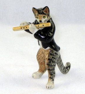 CAT Tiger Grey n TUX Musician plays FLUTE MINIATURE New Porcelain Figurine KLIMA L657F   Collectible Figurines
