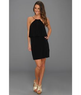 Tbags Los Angeles High Neck Mini Dress with Ruffle Flap Detail Womens Dress (Black)