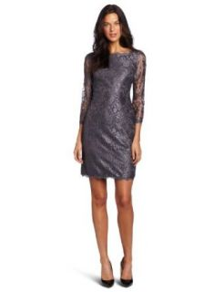 Adrianna Papell Women's Long Sleeve Lace Dress, Dark Silver, 4