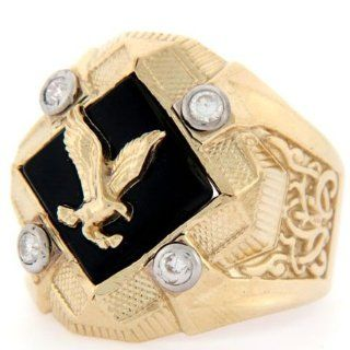 10K Solid Yellow Gold Onyx Eagle CZ Large Mens Ring Rings For Men Jewelry