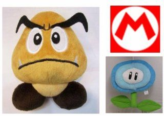 "Hard to Find Super Mario Brothers Goomba 5"" Plush Doll and 6"" Mario Blue Ice Flower Doll Toys & Games"