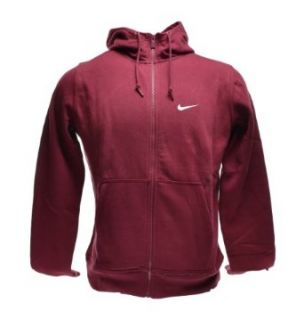 Nike Classic Club Swoosh Fleece Hoodie Full Zip Men's Sweatshirt Burgundy 611456 677 (Size 2X)  Athletic Warm Up And Track Jackets  Clothing