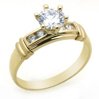 14K Engagement Ring 1ctw CZ Cubic Zirconia Solitaire Yellow Gold Ring Jewelry