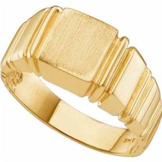 Men's Brushed Top 14Kt. Yellow Gold Signet Ring Bands Jewelry