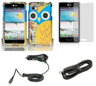 LG Optimus F3 (LS720, MS659)   Accessory Combo Kit   Baby Blue and Yellow Owl Design Shield Case + Atom LED Keychain Light + Screen Protector + Micro USB Cable + Car Charger Cell Phones & Accessories