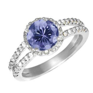 1.34 Ct Round Blue Tanzanite White Sapphire Sterling Silver Ring Jewelry