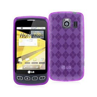 LG OPTIMUS S LS670 PURPLE DIAMOND PATTERN TPU / CANDY CASE Cell Phones & Accessories