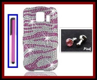 LG LS670 Optimus S Sprint/US Cellular/ Virgin Mobile Glossy Diamonds Bling Pink White Zebra Design Snap on Case Cover Front/Back + Hot Pink Stylus Touch Screen Pen + One FREE Pink 3.5mm Bling Headset Dust Plug Cell Phones & Accessories