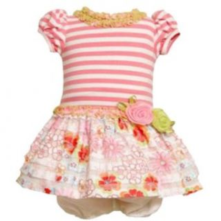 Size 12M BNJ 0703R 2 Piece PINK WHITE MULTI FLORAL TIERED 'Eyelash Ruffle' DROPWAIST Special Occasion Flower Girl Easter Party Dress,R10703 Bonnie Jean BABY/INFANT Clothing