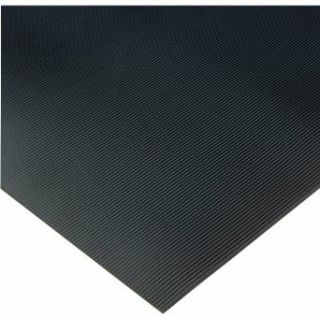"Wearwell PVC 702 Non Conductive Corrugated Switchboard Matting, Full Roll, for Electronic and High Voltage Apparatus, 3' Width x 75' Length x 1/4"" Thickness, Black Floor Matting"