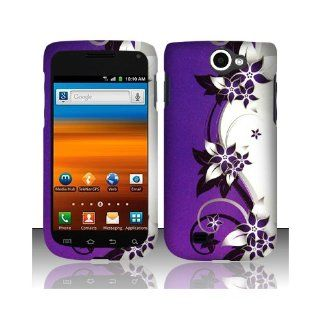Purple Silver Flower Hard Cover Case for Samsung Galaxy Exhibit 4G SGH T679 Cell Phones & Accessories