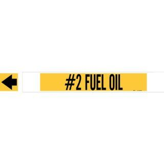 "Brady 5693 Hphv High Performance   High Visibility Pipe Marker, B 681/B 883, Black On Yellow Polyester Over Laminate On Fiberglass Plastic Carrier, Legend ""#2 Fuel Oil"" Industrial Pipe Markers"