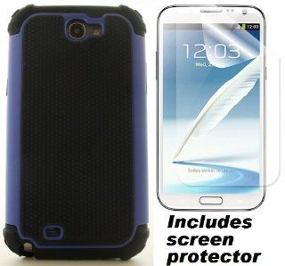 Black Blue Defender Commuter Style Cover Case & Screen Protector for Samsung Galaxy Note 2 II Cell Phones & Accessories