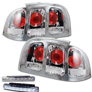 1994 1998 FORD MUSTANG REAR BRAKE TAIL LIGHTS LAMPS CHROME+LED BUMPER RUNNING Automotive