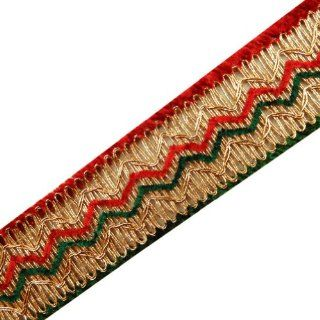 Red Green Braid Ribbon Metallic Gold Trim Border Lace Sewing Craft Lace 4 Yard