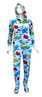 Dr Seuss One Fish Two Fish Hooded Onesie Footie Pajama for women Clothing