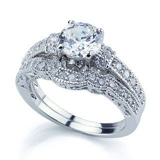 Rhodium Plated Sterling Silver Vintage Style 2Pc Engagement Ring Bridal Sets For Women 6mm ( Size 5 to 9) Jewelry