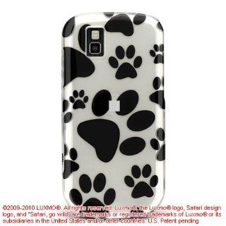 White with Black Dog Paw Prints Design Snap On Cover Hard Case Cell Phone Protector for LG GD710 GD 710 Shine II Cell Phones & Accessories