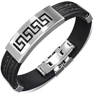 Stainless Steel Black Rubber Silver Tone Greek Key Mens Bracelet with Clasp My Daily Styles Jewelry