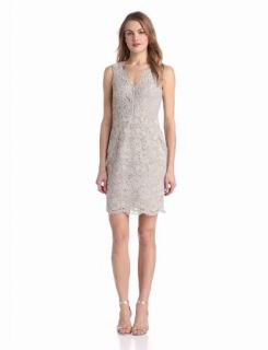 Adrianna Papell Women's Sleeveless V Neck Lace Dress, Taupe, 12