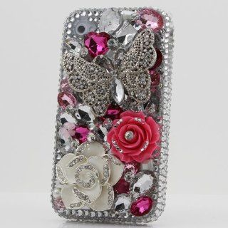 3D Swarovski Silver Butterfly Crystal Bling Case Cover for iphone 4 4S AT&T Verizon & Sprint (handcrafted by BlingAngels) Cell Phones & Accessories