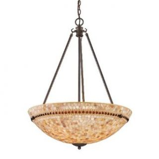 Elk Lighting 15014 4 Roxana 4 Light Natural Pendant Lighting Fixture, Aged Bronze, Shell Mosaic, B12599   Ceiling Pendant Fixtures
