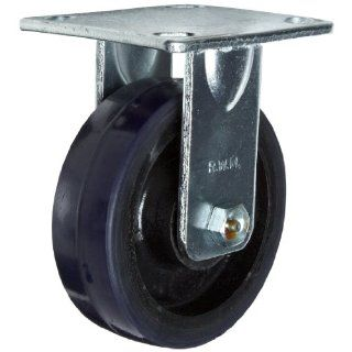 "RWM Casters 40 Series Plate Caster, Rigid, Urethane on Aluminum Wheel, Roller Bearing, 720 lbs Capacity, 5"" Wheel Dia, 1 1/2"" Wheel Width, 6 1/8"" Mount Height, 4 1/2"" Plate Length, 4"" Plate Width"