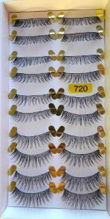 Model Prefer High End No. 728 False Fake Eyelashes 10 Pairs Long Black False Eyelashes Reusable Natural Human Hair Deluxe  easy to apply good for eye make up Manufacturer # 728 equal to the customer label # 720 (Same item)  Fake Eyelashes And Adhesives