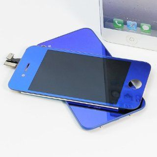 Binnbox Pure Blue Chrome Electroplating LCD Touch Screen Glass Digitizer Assembly Replacement for iPhone 4S GSM + Back Cover Case + A Set Cracked Screen Repair Tools Kit Cell Phones & Accessories