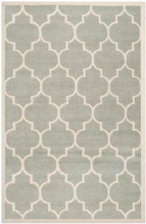Safavieh CHT733E Chatham Collection Wool Handmade Area Rug, 6 Feet by 9 Feet, Grey and Ivory