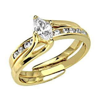 14K Yellow Gold Solitaire Marquise cut CZ Cubic Zirconia with Side stone High Polish Finish Ladies Wedding Engagement Ring and Matching Band 2 Two Piece Sets Goldenmine Jewelry