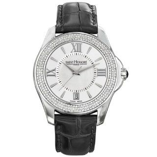 Saint Honore Coloseo 761010 1AYRN 38mm Diamonds Stainless Steel Case Black Calfskin Synthetic Sapphire Women's Watch at  Women's Watch store.