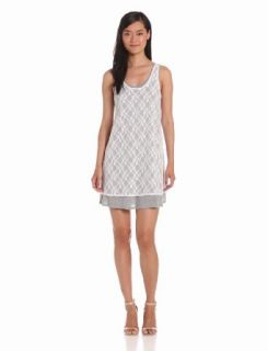 Kensie Women's Lace Overlay Dress, Heather Gray Combo, X Small