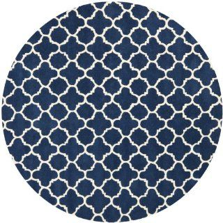 Safavieh CHT717C Chatham Collection Wool Round Area Rug, 7 Feet, Dark Blue/Ivory