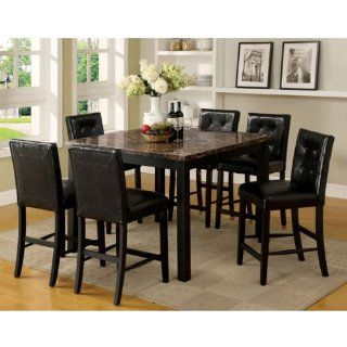Boulder Espresso Finish Faux Marble Table Top 7 Piece Counter Height Dining Set Home & Kitchen