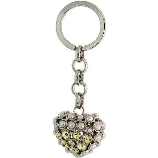 "Puffed Heart Key Chain, Key Ring, Key Holder, Key Tag , Key Fob, w/ Beads & Brilliant Cut Yellow Topaz color Swarovski Crystals, 3 1/2"" tall Jewelry"