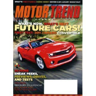 Motor Trend March 2011 Camaro Convertible on Cover, Mercedes EV Supercar, 2012 Honda Civic, Ford's New Escape, Hyundai Elantra, Mercedes Benz SLS E Cell, Audi Q7 TDI, Ford Explorer, Jeep Wrangler Motor Trend Magazine Books