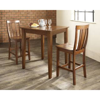 Three Piece Pub Dining Set with Tapered Leg Table and Shield Back
