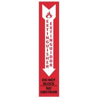 "NMC M723R Bilingual Fire Sign, Legend ""Extinguisher Do Not Block"", 4"" Length x 18"" Height, Rigid Polystyrene Plastic, Black/White on Red Industrial Warning Signs"