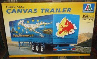 #745 Italeri Three Axle Canvas Trailer 1/24 Scale Plastic Model Kit,Needs Assembly Toys & Games