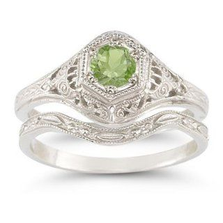 Antique Style Peridot Wedding Ring Set Jewelry