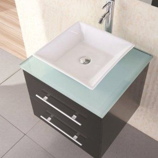 Design Element DEC071C G Elton 24 Inch Wall Mount Single Vessel Sink Vanity with Glass Top   Modern Vanity With Vessel Sink Combo