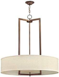 "Hinkley Lighting 3206BR Hampton 33"" Height 3 Light 1 Tier Drum Chandelier, Brushed Bronze   Ceiling Pendant Fixtures"