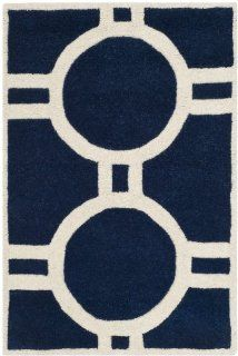 Safavieh CHT739C Chatham Collection Wool Handmade Area Rug, 3 Feet by 5 Feet, Dark Blue and Ivory
